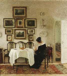 Mother And Child In A Dining Room Interior - Carl Vilhelm Holsoe