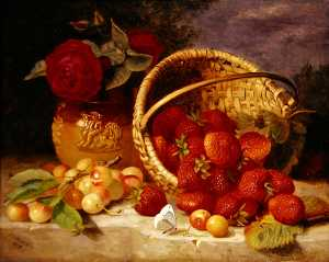 Still Life Of Basket With Strawberries And Cherries