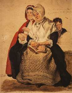Two Women And A Boy Study For 'the Covenanters Preaching'