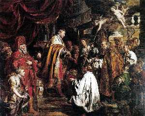 Saint Stephen Hungarian King Receives The Pope's Envoys Who Bring The Crown