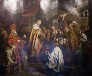 Saint Steven Hungarian King Receives The Pope's Envoys Who Bring A Crown