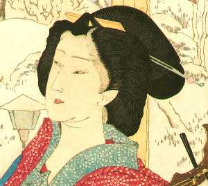 Beauty And Shamisen In Snow