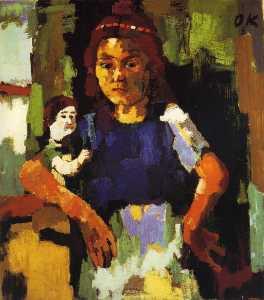 Fillette à la poupée, Young girl with the headstock , Huile sur Toile,