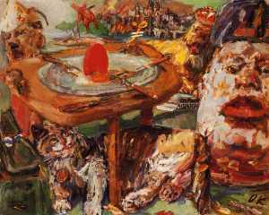 L'oeuf rouge, The red egg, Huile sur Toile,