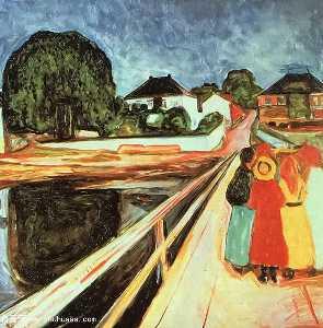 flickor pa en bro