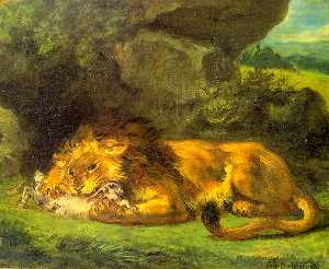 Lion with a Rabbit