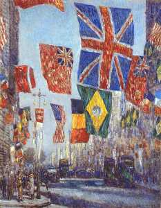 avenue of the allies (flags of uk and dominions, brazil and belgium behind) -