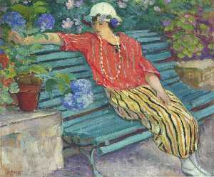 Young Woman Seated with Hydrangeas