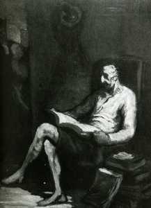Don Quichotte lisant, huile sur panneau Gift Quichotte reading, oil on panel