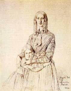 Madame Frederic Reiset born Augustine Modeste Hortense Reiset and her daughter Therese