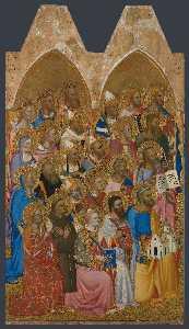 Adoring saints - left main tier panel