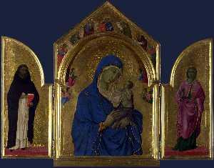 la vergine e il bambino con santi domenico e aurea