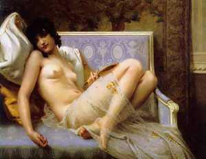 Jeune femme denudee sur canape