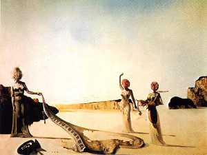 Dalí three women with heads of flowers finding the skin of a