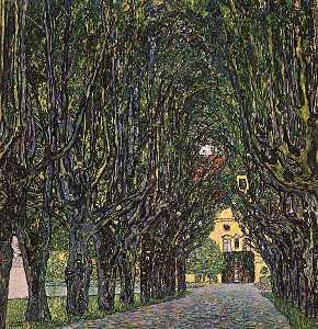Avenue in Schloss Kammer Park, oil on canvas, Ös