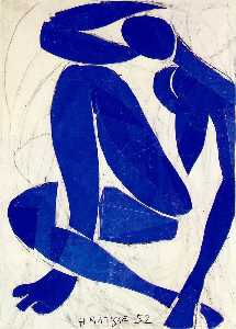 Nu bleu (iv), spring Gouache on paper, cut and