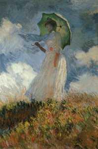 Femme à l'ombrelle tournée vers la gauche