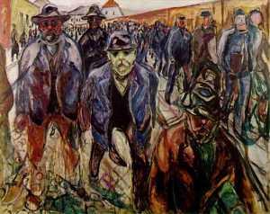 Workers returning home Oil Kommunes Kunstsam