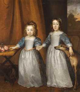 Botas retrato de dos jóven niñas en un terraza con dos Perros de caza y un paisaje más allá
