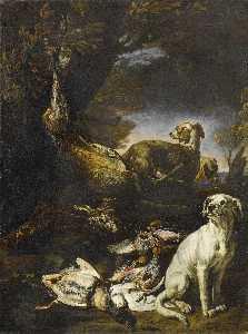 Cazado juego están vigilados por perros en un bosque paisaje