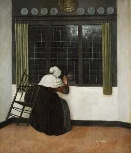 Woman at the window waving to a girl