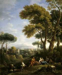 A Classical Landscape with a Traveller and Two Women Conversing and Three Goats Gambolling