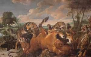 Wolves Attacking a Horse