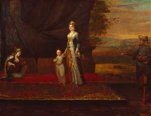 Lady Mary Wortley Montagu with her son, Edward Wortley Montagu, and attendants