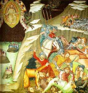 Killing of the servants of Job, Fresco by Bartolo di Fredi, the cathedral of San Gimignano