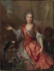 Portrait of a Woman, Possibly Madame Claude Lambert de Thorigny (Marie Marguerite Bontemps, 1668 1701), and an Enslaved Servant