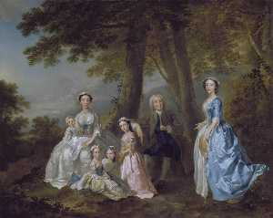 Samuel Richardson, the Novelist (1684 1761), Seated, Surrounded by his Second Family 1740 41