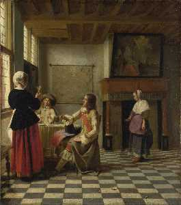 An Interior, with a Woman drinking with Two Men, and a Maidservant