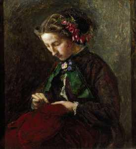 Effie with Foxgloves in Her Hair (The Foxgloves) (Euphemia 'Effie' Chalmers Gray, 1828–1898, Mrs John Ruskin)