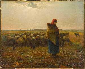 Bergère avec son troupeau Bergère gardant ses moutons ou la grande bergère (autre titre)