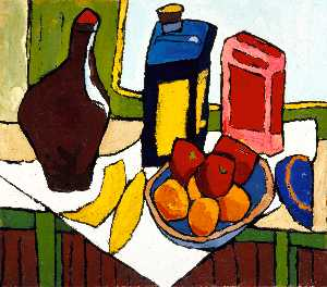 Still Life Fruit, Bottles