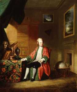 Supposed Portrait of William Strickland (1731–1819), in His Library (really a member of the Towneley family )