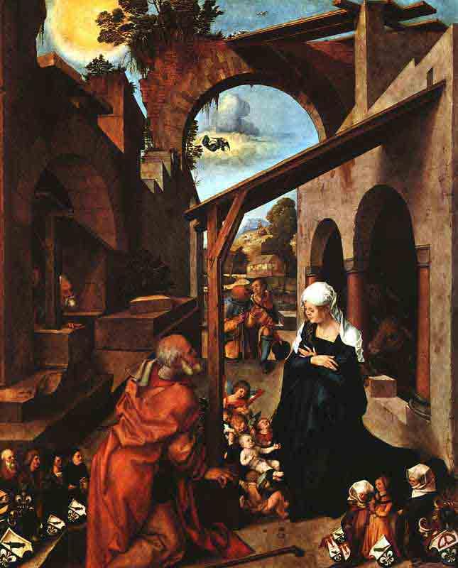 Wikioo.org - The Encyclopedia of Fine Arts - Painting, Artwork by Albrecht Durer - la Nativite, Baumgrtner Altarpiece