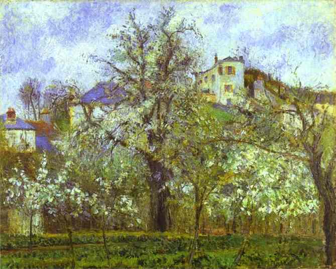 Wikioo.org - The Encyclopedia of Fine Arts - Painting, Artwork by Camille Pissarro - Vegetable Garden and Trees in Blossom, Spring, Pontoise