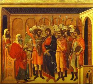 maesto ( schiena , pannello centrale ) , gesù davanti ad anna