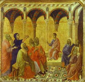 maesto ( frontale , predella , dettaglio ) , contestando cristo con gli scribi