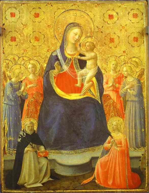 Wikioo.org – L'Encyclopédie des Beaux Arts - Peinture, Oeuvre de Fra Angelico - madonna avec anges et le saints dominic et catherine