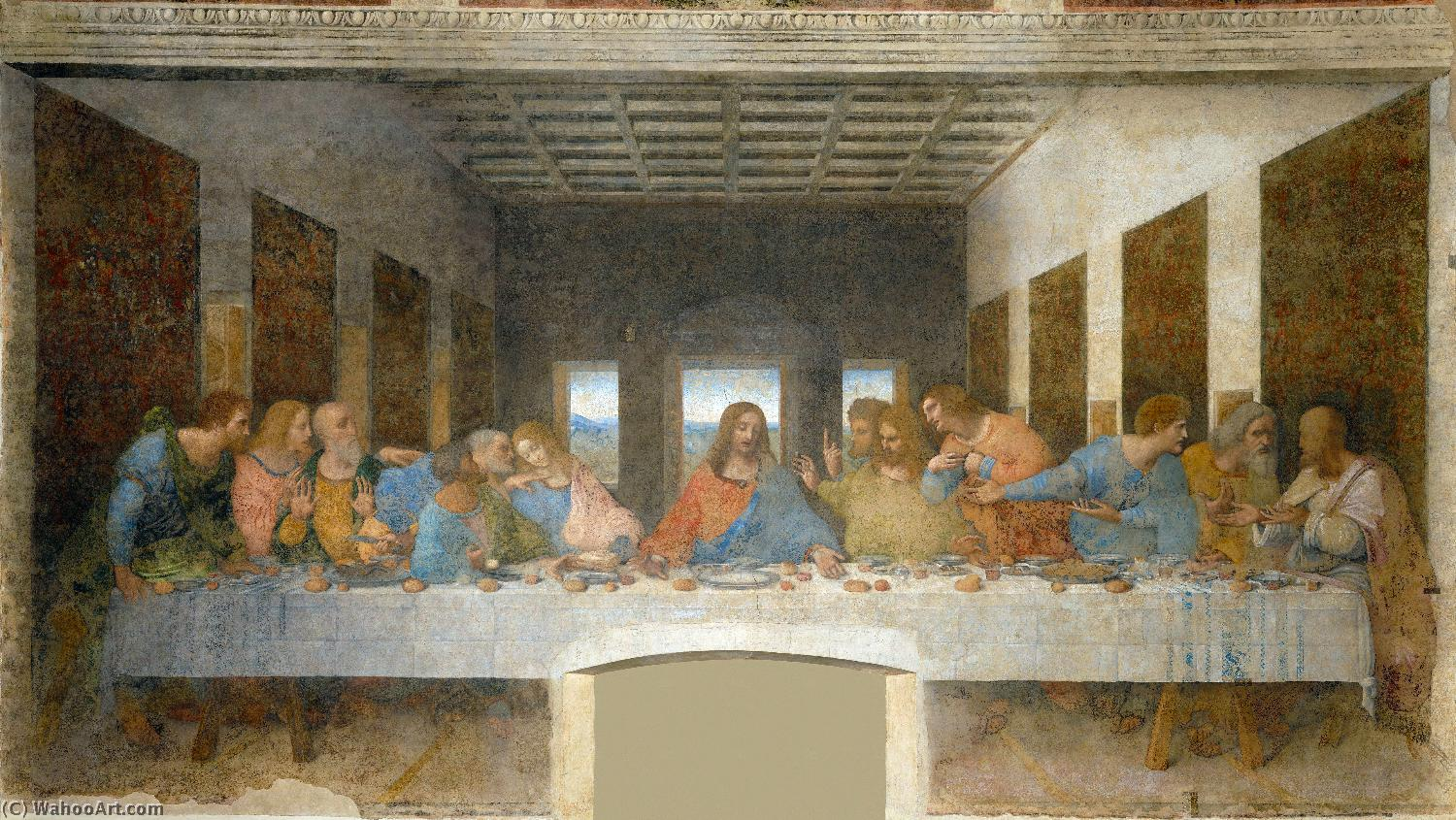 Wikioo.org - The Encyclopedia of Fine Arts - Painting, Artwork by Leonardo Da Vinci - The Last Supper
