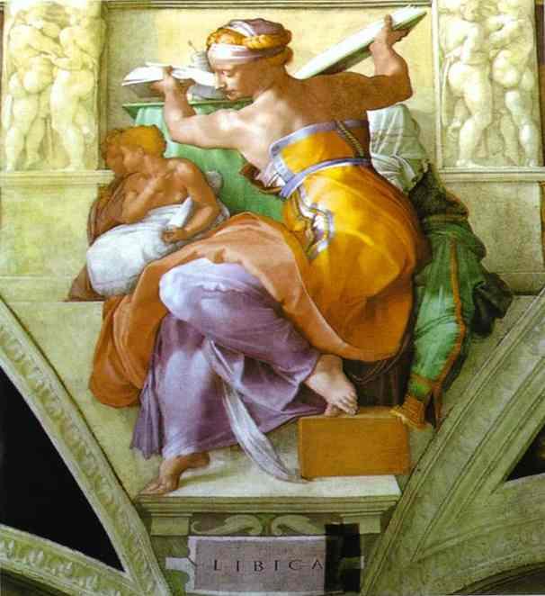Wikioo.org - The Encyclopedia of Fine Arts - Painting, Artwork by Michelangelo Buonarroti - The Libyan Sibyl