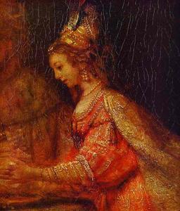 Esther. Detail of Assuerus, Haman and Esther