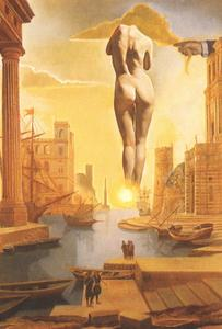 DalH's Hand Drawing Back the Golden Fleece in the Form of a Cloud to Show Gala the Dawn, Completely Nude, Very, Very Far Away Behind the Sun (stereoscopic work, right component), 1977