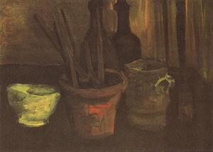 Still Life with Paintbrushes in a Potv