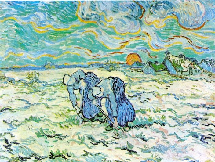 Wikioo.org - The Encyclopedia of Fine Arts - Painting, Artwork by Vincent Van Gogh - Two Peasant Women Digging in Field with Snow