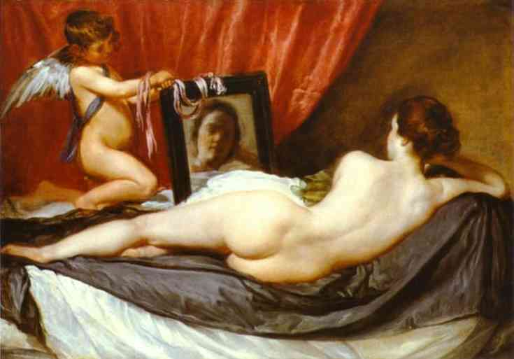 Wikioo.org - The Encyclopedia of Fine Arts - Painting, Artwork by Diego Velazquez - Venus at Her Mirror