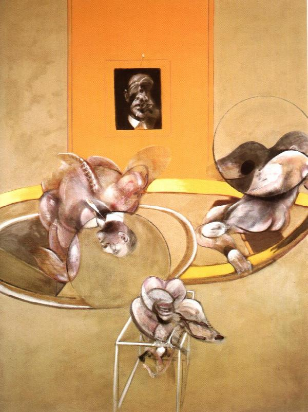 Wikioo.org - The Encyclopedia of Fine Arts - Painting, Artwork by Francis Bacon - three figures and a portrait, 1975 x
