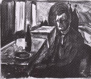 Self-portrait with bottle of wine